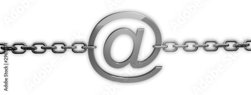 email symbol with chain on white background 3D