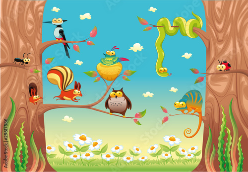 Funny animals on branches Vector scene, isolated objects