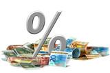 Fototapeta finansowy - procent - Pieniądze / Banknoty / Karta Kredytowa