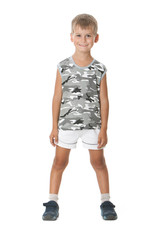 Boy on a white background.