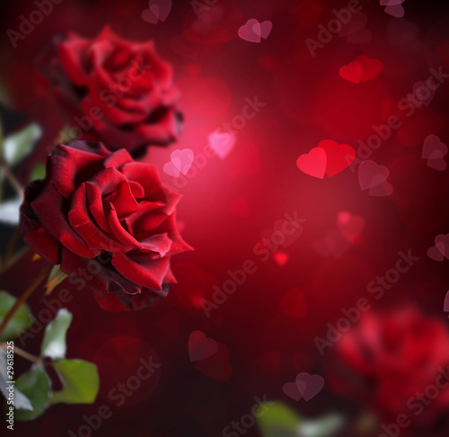 Valentine or Wedding Card Roses and Hearts