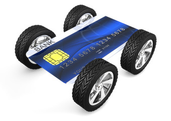 credit card with wheels isolated on white background
