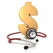 red stethoscope around a gold dollar symbol