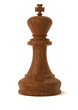 wooden chess king piece isolated