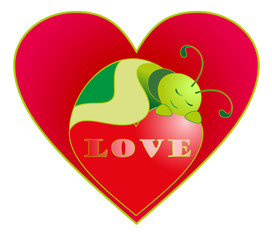 Vector illustration. Valentine love caterpillar.