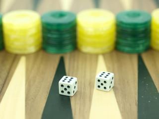 Backgammon set with dice
