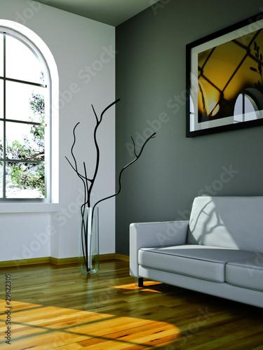 Sofa Rendering Sonne grau
