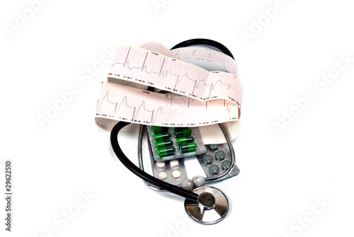 cardiogram and stethoscope