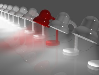 Exclusive red lapm. 3d render.