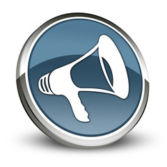"Dark Blue 3D Style Icon ""Megaphone / Announcement Symbol"""