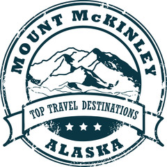 Grunge rubber stamp with the Mount McKinley