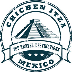 Grunge rubber stamp with the Chichen Itza