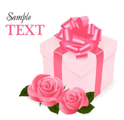 Background with beauty pink roses and gift box. Vector