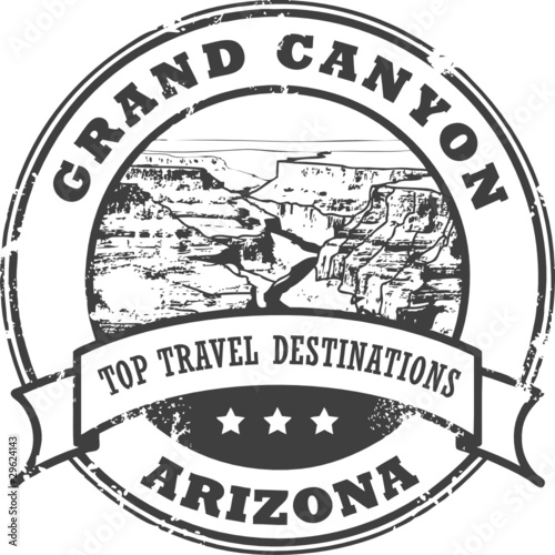 Grunge rubber stamp with the Grand Canyon