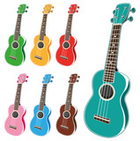 Illustration of colorful ukuleles