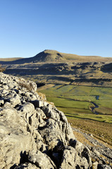 Ingleborough with blue sky in Yorkshire Dales