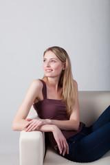 girl sitting on the sofa