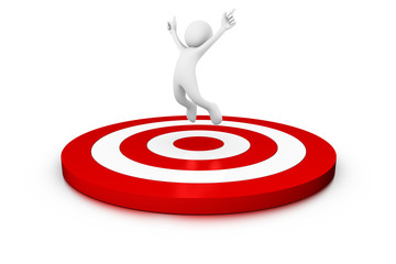 Man jumping over a big target
