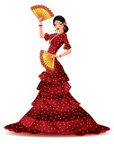 Fototapety Spanish girl with two fans dances a flamenco, vector