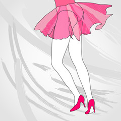 Dancing girl, Valentine vector