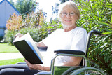 Happy pensioner reading a book poster