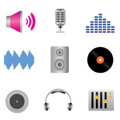 Audio, music and sound icons
