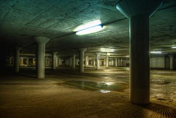 Deserted underground car park.
