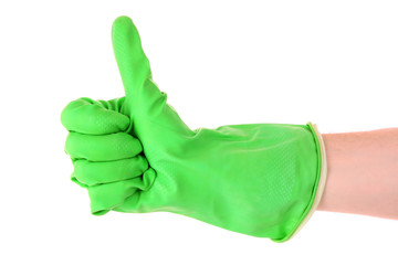 Thumbs up with a green  glove on white