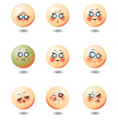 Set of nine smileys faces