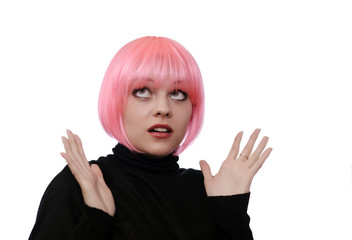young woman with pink hairs