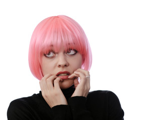 afraid woman with pink hairs