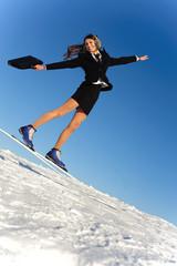 businesswoman go skiing