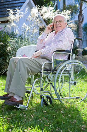 Disabled man on a phone