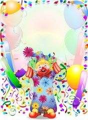 Pagliaccio Bambino Sfondo-Baby Clown Background-Vector
