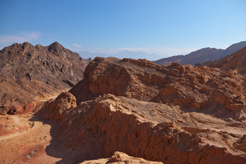 Ancient mountains of stone desert.