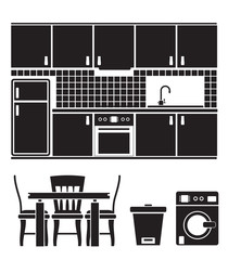 kitchen objects, furniture and equipment