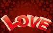 Red valentine background with big LOVE word and curls
