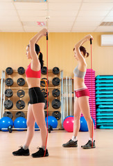 Young women doing fitness in a health club