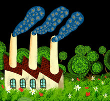 Ecological factory expels smoke of flowers for his chimneys