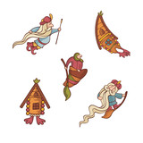 set of cute fairytale characters poster