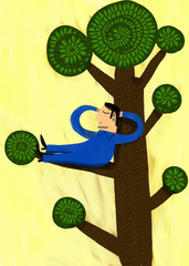 Man resting put to bed in the branch of a tree