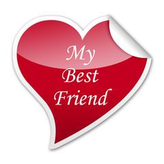 Pegatina corazon My Best Friend con reborde