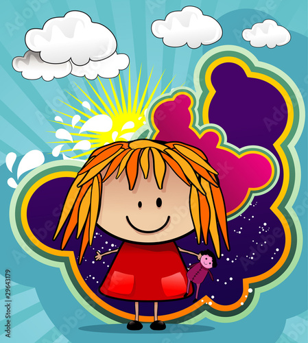 girl playing with dolls cartoon vector