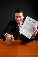 Businessman inviting to sign a contract