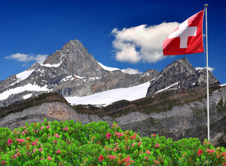 Beautiful mountain Zinalrothorn with Swiss flag - Swiss Alps