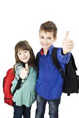 Children, schoolboy and schoolgirl showing OK sign