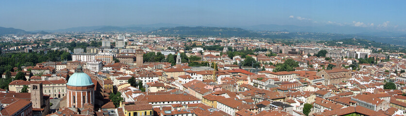 aerial view of the rooftops of an Italian city