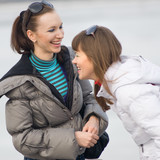 girls talking and laughing