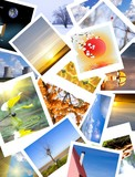 Favorite photos arranged on a table. poster