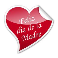 Pegatina corazon Feliz dia de la Madre con reborde